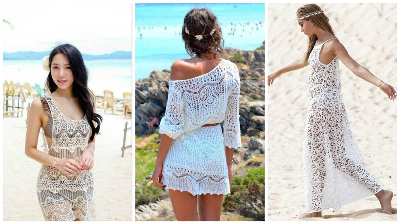 Вязанное платье пляж